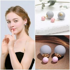 Jewelry - Double Faced Ball Back Earrings- Pink and Gray